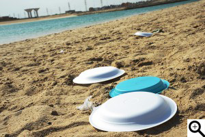 Trash plastic and paper plates left in the beach