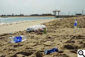 Plastic bottle and cola can thrown in shore line
